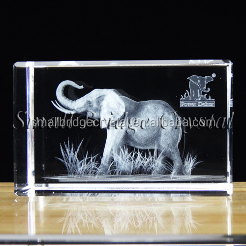 Hot Sale 3d Laser Crystal Indian Elephant Figurines For Animals Souvenir