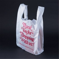 Special printed logo manufactured T SHIRT white plastic THANK YOU bag