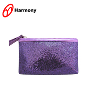 Easy style shiny sequin purple glitter cosmetic bag