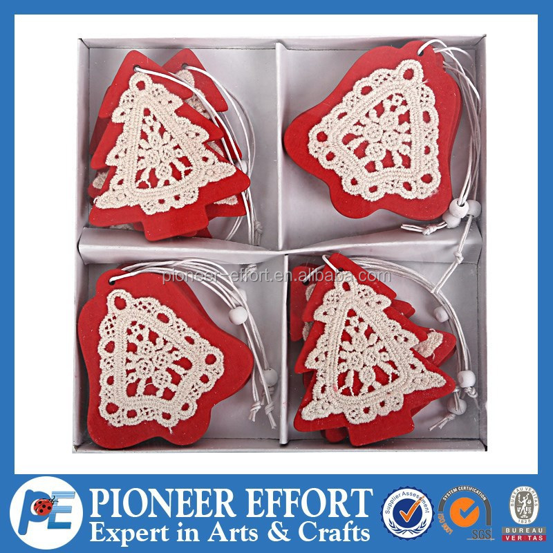 red and white decorations deer snowflake star heart Wooden Christmas hanging ornament