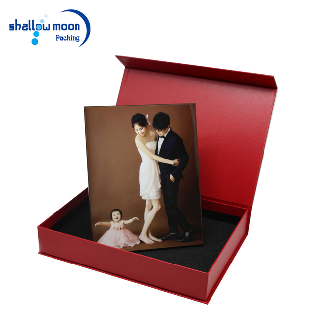 China suppliers hot red paper cardboard album frame packaging foldable custom logo gift box with magnet closure