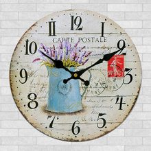 "12"" Vintage Rustic Country Style Wooden Decorative Round Wall Clock"