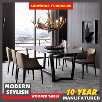 2016 new promotion modern marble top dining table with wood leg