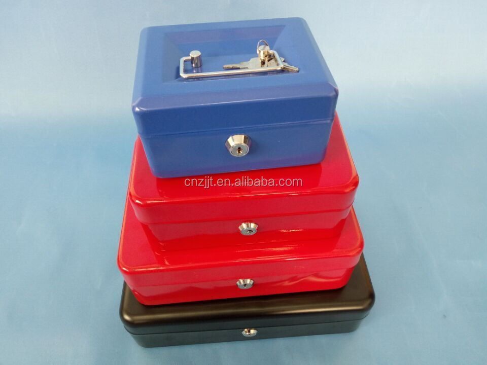 6inch 8inch 10inch 12inch metal cash box Key Lock Cash Box with Coin Tray