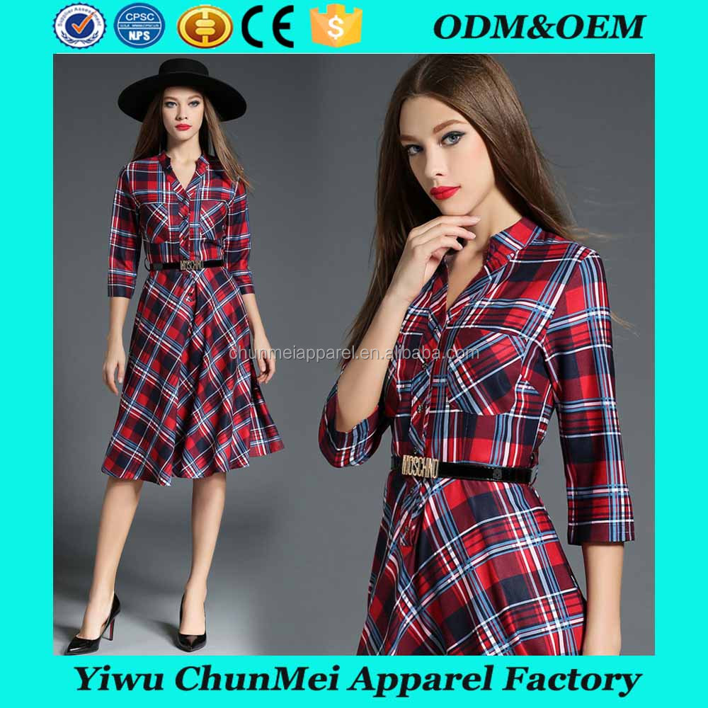 Long Sleeve colorful Plaid Shirt Dress Knee Length Women Clothing Casual Dress with belt
