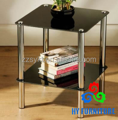 Cheap 2 tier side end table with black square glass shelves