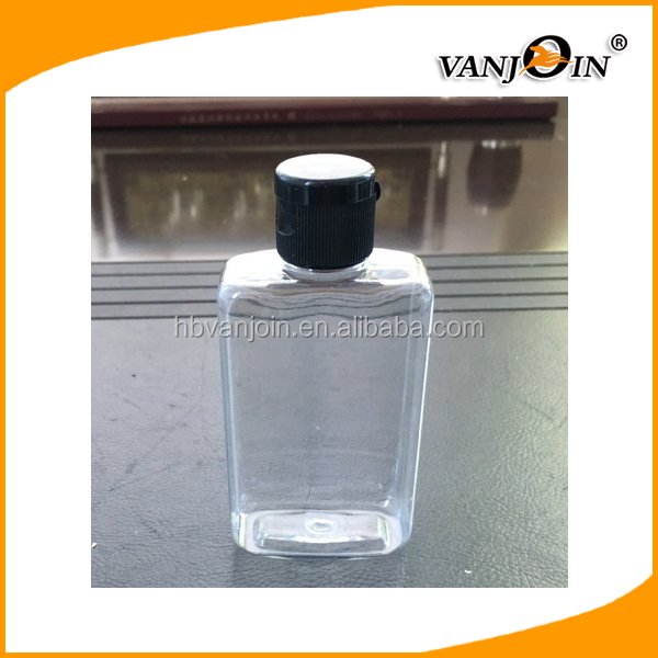 Clear Flat shape 100ml plastic bottle with flip cap for Dispensing Lotions Massage Oils