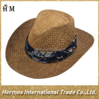China wholesale cheap wide brim cowboy hat summer beach western paper straw cowboy hat