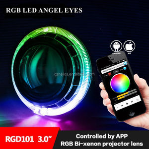 hid Bi-xenon lens with Bluetooth APP Control RGB LED Angel Eyes Color-changing shrouds headlight fit for h1 h4 h7 car model
