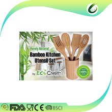whole sale bamboo slotted flat spatula