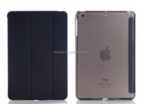 NEW PU leather case Smart cover for iPad Air with crystal transparent hard PC back case
