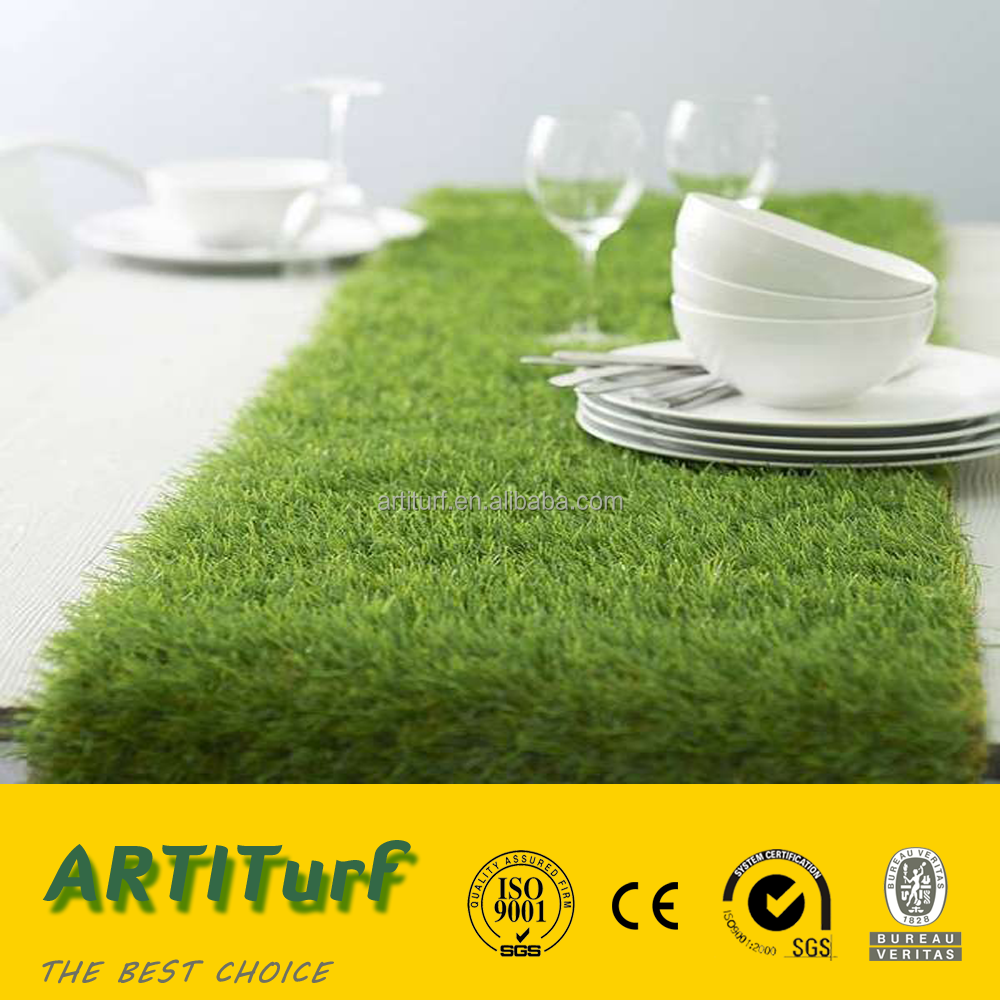 2016 new products short 20-25mm straight monofilament with yellow PP curly mixed color artificial turf for table decoration