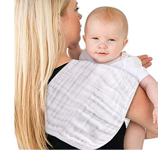 "Pure <strong>white</strong> 4 pack 6 layer muslin burp cloths large size 21""<strong>x10</strong>"""