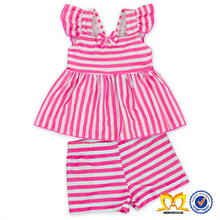 Cute Baby Pink Stripe 2pc With Bow Girl Swimwear Child Swimwear Children Bathing Suit