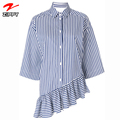 OEM ODM Stylish Blue and White Cotton Asymmetric Half Sleeve Stripe Shirts for Women