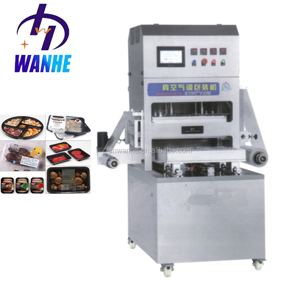 Semi automatic MAP Vacuum Tray Sealing Machine packing machine for meat / sea food