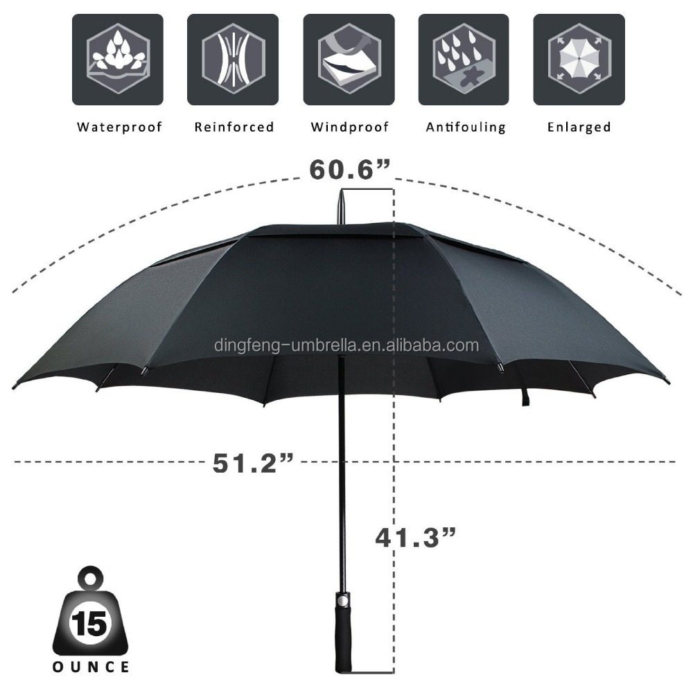 62 Inch Golf Umbrella with Double Canopy, Full Size 190T Microfiber Fabric with Rain Repellant Protection, Ultra Wind Resistant