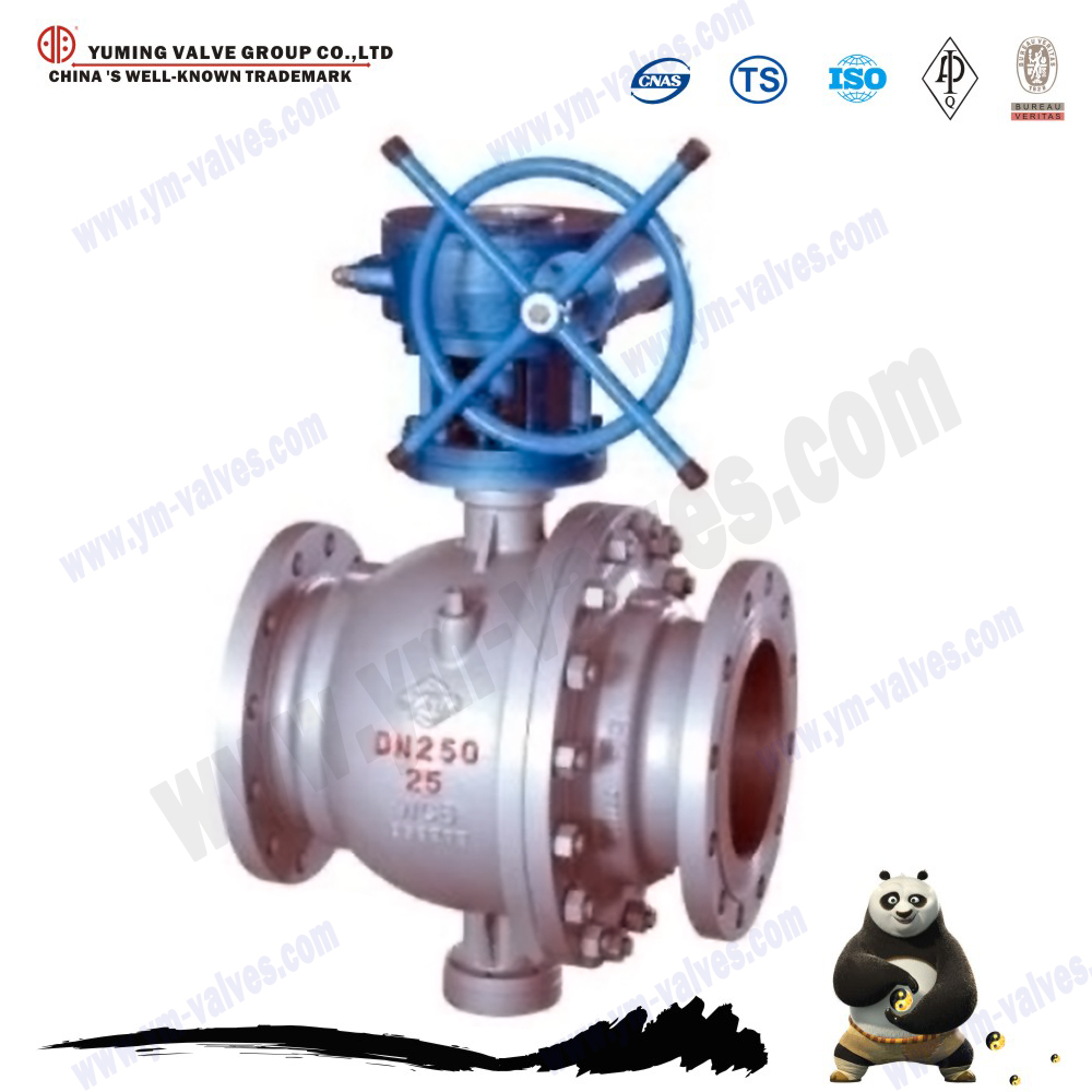 China manufacture Worm Gear Metal hard seal fixed ball valve