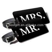 black printed not yours luggage tags