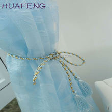 Huafeng 100%polyester dolly sheer curtain /stripe voile curtain