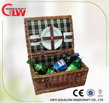 willow picnic basket with 2 plates and cups