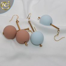 EH-16 New 2017 Colorful Resin Imitation Wooden Hook Copper Piercing Ball Earring
