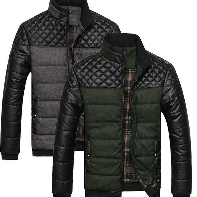 OEM supplier China 2015 Hot winter parka coats Leather down Jacket Warm Puffer men's clothing