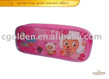 Pink Carton PVC Zippered Pencil Bag For Children