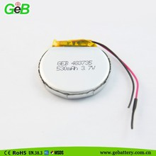 483735 rounded li polymer battery 3.7v350mah for electric wrist watch
