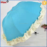 New design 3 fold lace change color when wet umbrella