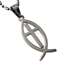 High Quality Silver Stainless Steel Christian Ichthus Fish Cross Pendant Necklace