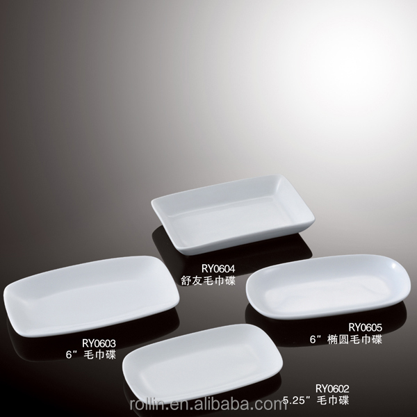 chaozhou cheap white porcelain rectangular towel dish
