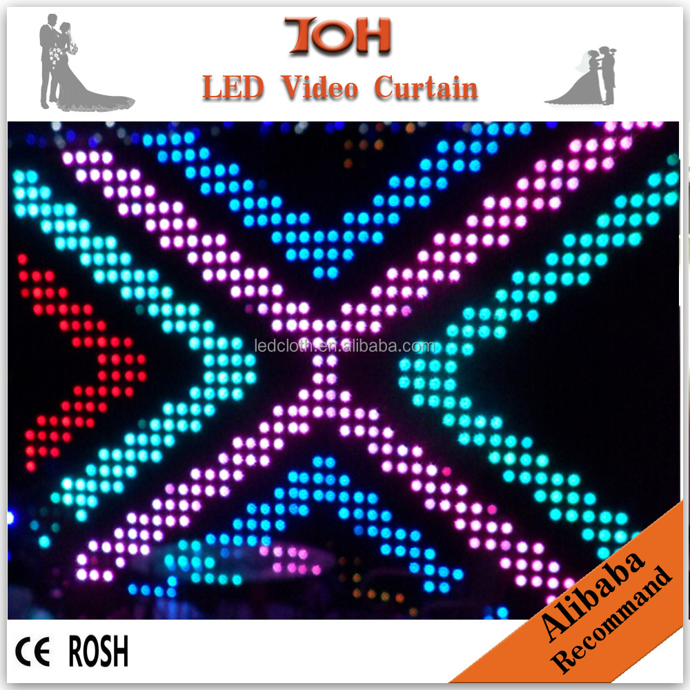 Led dj light curtain display screen video flexible led curtain for stage backdrops
