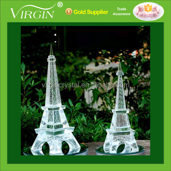 Wholesale blank clear elegant 3d laser crystal Eiffel Tower model for souvenir gift