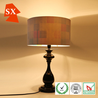 Modern classic black antique metal funky hotel table lamp with fabric shade