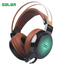Salar C13 deep bass sound wired USB gaming headphones with mic and LED