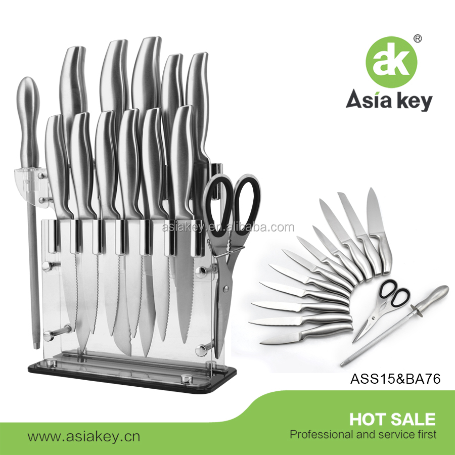 14 Pcs Stainless Steel Cutlery kitchen Gadgets appliances Knife Block Set with acrylic block