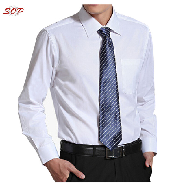 Business white plain long sleeve men casual shirts wholesale