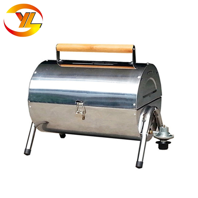Outdoor Barrel suitcase tabletop folding stainless steel gas barbecue bbq grill for boat