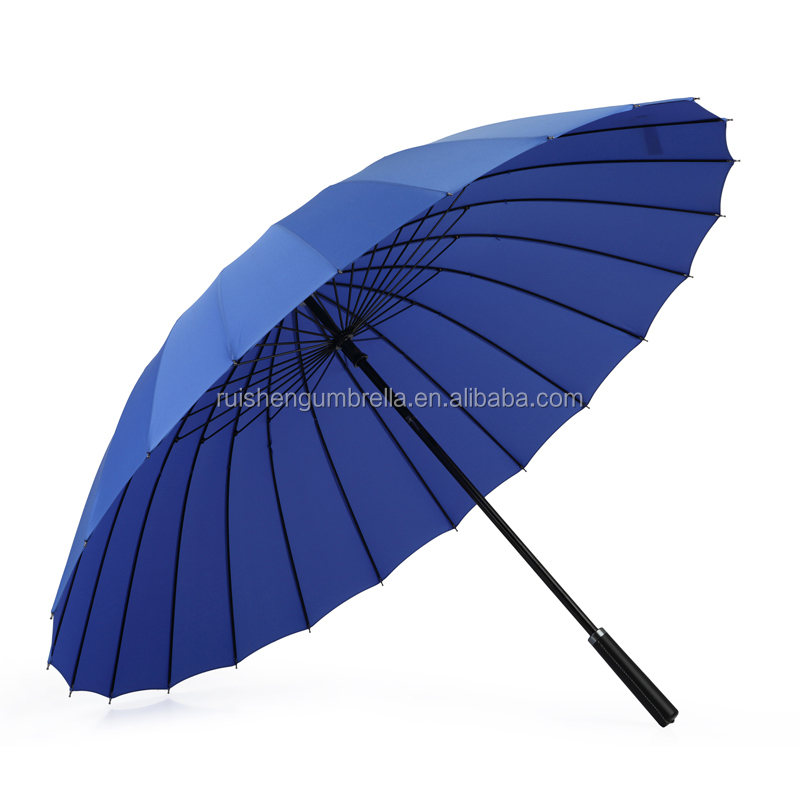 Promotion 24k strong ribs straight rain umbrella with EVA handle