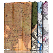 Map pattern flip leather case for 2017 kindle new fire HD 8 cover