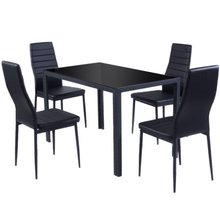 5 Piece Dining tables et Glass Metal Table and 4 Chairs5-piece dining set includes a table and 4 chairs