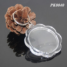 Wholesale Flower Shaped DIY Acrylic Blank Photo Clear Transparent ABS Key Chain Insert Photo Picture Blank Plastic Key Rings