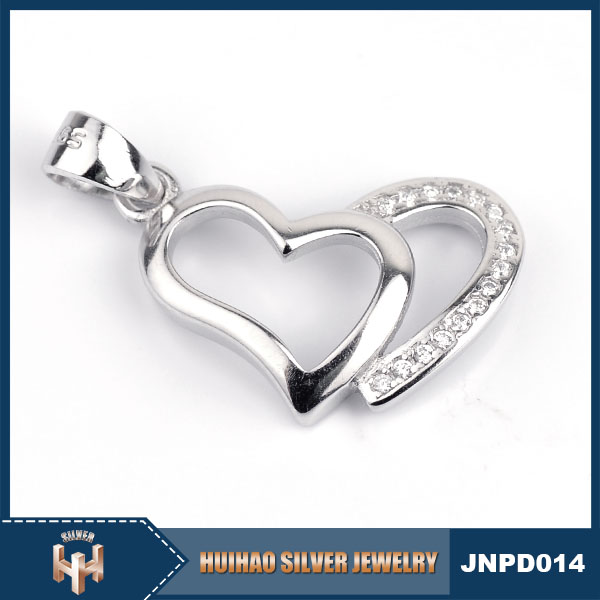 guangzhou jewelry market 925 silver heart pendant of two halves