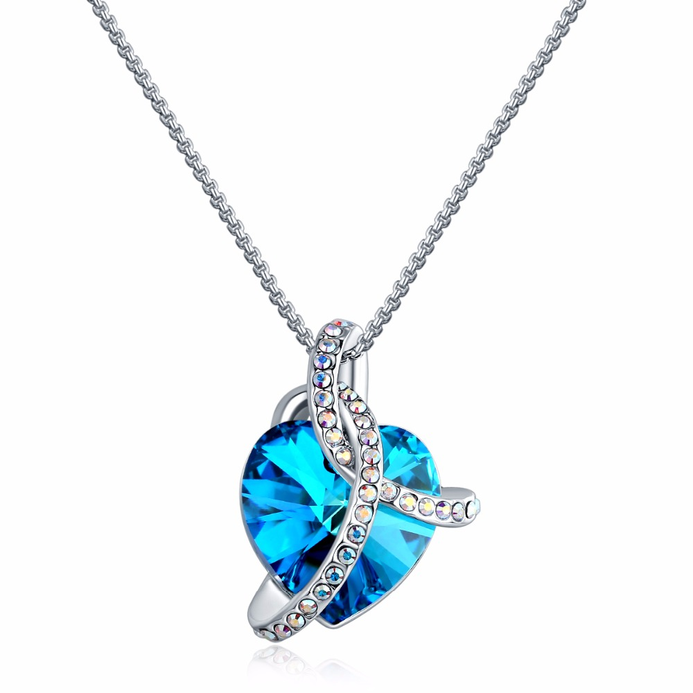 China jewelry wholesale women <strong>accessories</strong> love heart fashion pendant necklace crystal from Swarovski