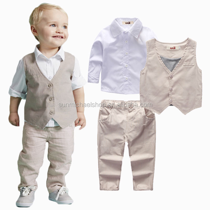 Boys Long-sleeved T-shirt, vest, pants 3Pieces Outfit Suit for 2-5 years