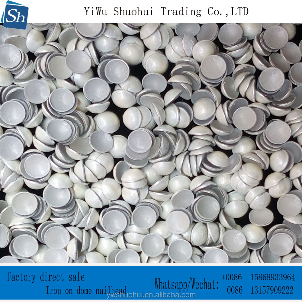 wholesale price heat transfer 4MMwhite iron on dome nailhead half pearl