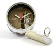 customized brand can shape clock with magnet and plastic stand