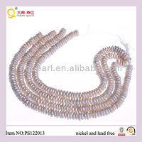 2013 fashion jewellery coin shape freshwater pearl string