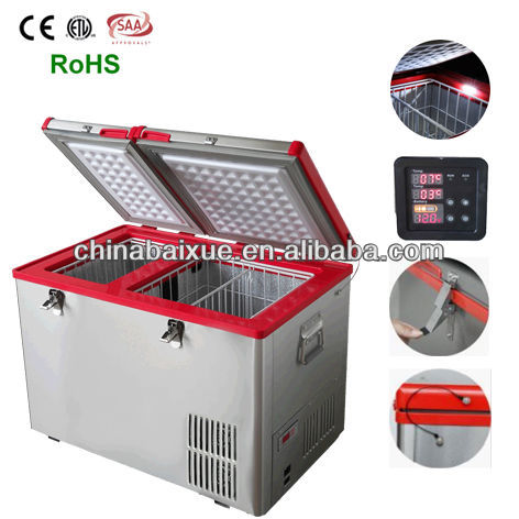 BAIXUE HOT SALE High-quality hunting trip Stainless steel car freezer,rv freezer BD/C-80ACDC Dual Zone